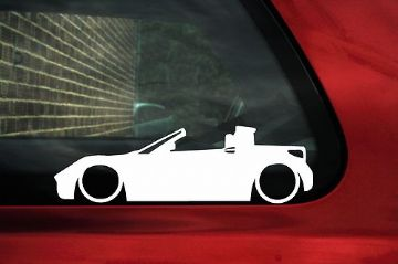 2x LOW, lowered, Smart Roadster car silhouette outline stickers / Decals